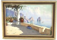 Framed Original Oil on Canvas Mediterranean Coast View from Balcony