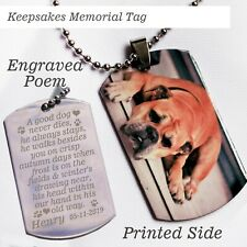 Personalised Photo Printed,Photo Text engraved pet memorial dogtag pendent chain