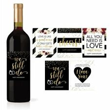 5 Wedding Anniversary Wine Label Stickers For 20th 25th 30th 40th 50th Gift...