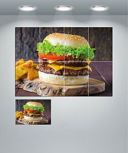 Burger Food Restaurant Takeaway Cafe Giant Wall Art Poster Print