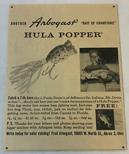 1959 ARBOGAST fishing lure ad ~ HULA POPPER ~ Catch A 7 lb Bass