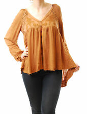 Mentiras Blanco para Mujer Free People Top Relaxed Fit buttondown Marrón Talla XS BCF512