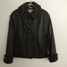 NWOT Colebrook Dark Chocolate Brown Leather Faux Shearling Trim Jacket SMALL (6)