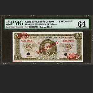 Banco Central de Costa Rica 50 Colones SPECIMEN PMG 64 Choice UNC P-232s