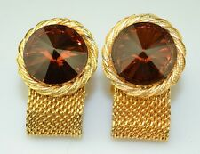 VINTAGE GOLD PLATED HUGE RIVOLI BROWN TOPAZ COLOR STONE MESH WRAP CUFFLINKS