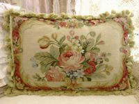 """20"""" Vintage Beautiful Blooming Pink Rose & Buds French Needlepoint Throw Pillow"""