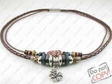 Tribal Hemp Leather Beads Beaded Necklace Choker Womens Mens Rosel