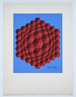 Exceptional Original Victor Vasarely Silkscreen Mid Century Modern 1960's Signed