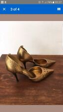 GORGEOUS gold metalic sexy pointed toe heels womens shoes ALDO 37 (4 -4.5 ) VGC!