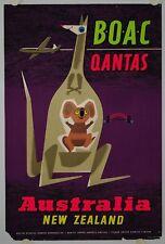 Affiche Tourisme BOAC QANTAS  Ann.'50 AUSTRALIA - NEW ZEALAND