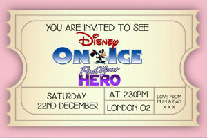 Personalised Disney On Ice Mock Surprise Reveal Mock Ticket Find Your Hero