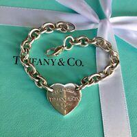 Authentic Tiffany & Co Silver Return To RTT Heart Tag Link Bracelet 19.5cm