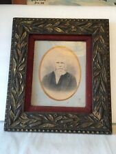 """Antique Arts Craft Gold Picture Frame holds 8"""" x 10"""" Cat Tails & Leaves w/ Glass"""