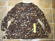 NWT RAFAELLA Womens Brown Leopard Print Tunic Roll Sleeve Blouse M Free Shipping