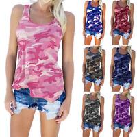 Women Casual Shirt Army Camo Camouflage Tank Tops Sleeveless T-shirt Plus Size