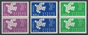 Cyprus 1962 Sc# 201-03 Doves Europa issue 1961 pairs MNH