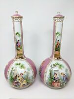 Pair Antique DRESDEN PORCELAIN VASES HAND PAINTED PINK WHITE 19c GERMAN RARE
