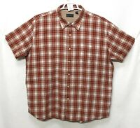 Mens Arrow 2XL Red Orange Plaid Cotton Blend Short Sleeve Button Front Shirt