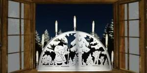 """Edelstahlschwibbogen 0,60 x 0,35m LED """"Santa Claus"""" Metall Schwibbogen Außen"""