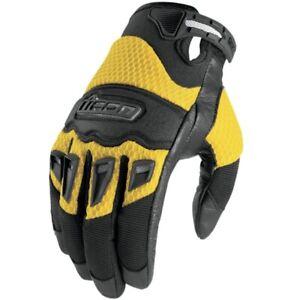 Icon Twenty-Niner Leather/Textile Motorcycle Men Gloves Yellow 3XL