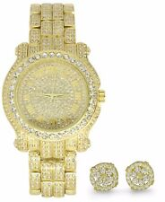 Mens Iced Out Techno Pave Watch Earring Combo Set Gold Plated Rapper Hip Hop