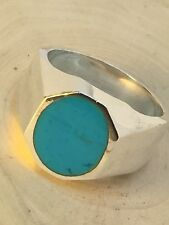 Taxco Vintage Sterling Silver Signet Turquoise Mens Ladies Ring