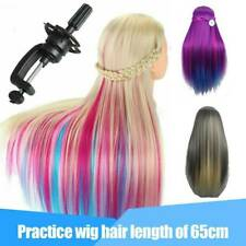 Salon Human Hair Training Head Hairdressing Styling Mannequin Doll Clamp Rainbow
