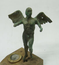 ANCIENT ARTIFACT GREECE BRONZE MASSIVE MYTHOLOGY STATUETTE WITH ICARUS