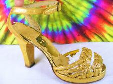 size 7 vintage 40s gold woven fabric platform ankle-strap peep-toe shoes VLV