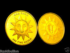 1 GRAM .999 PURE SILVER BULLION SUN ROUND DIPPED IN 24K GOLD INVESTMENT GRADE