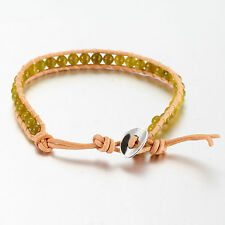Brown Leather Bead Wrap Friendship Bracelet, With Green Coloured Onyx Beads.