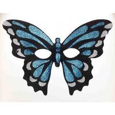 Blue Glitter Butterfly Half Mask Mardi Gras Halloween Costume Masquerade Black