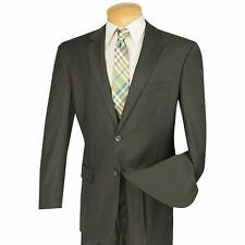 VINCI Men's Olive Green 2 Button Classic Fit Business Suit w/ Pleated Pants NEW