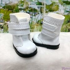 Mimiwoo Yo SD 1/6 BJD Doll Shoes Double Strap Boots White (for Foot 4.5cm long)