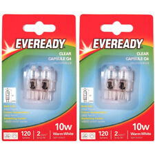 4 x EVEREADY G4 10W Halogen Capsule Bulb CLEAR 120 Lumens 12V Lamp