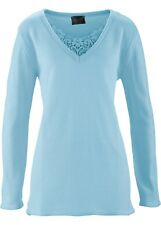 Damen Long-Pullover mit V-Ausschnitt in eisblau Größe 48/50 NEU