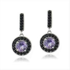 925 Silver 2.5ct Amethyst & Black Spinel Round Dangle Earrings