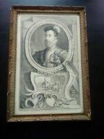 Rare engraving Robert Dudley Earl of Leicester by Houbraken 1738 gravure