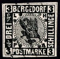 BERGEDORF, GERMANY, 3s, 1861, USED