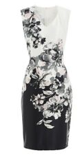 Beautiful ROMAN ORIGINALS Monochrome Floral Print Satin Dress {BNWT} Size 18