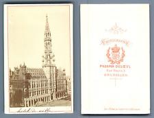Prosper Deloeul, Belgique, Bruxelles, Hôtel de Ville  CDV vintage albumen. Vinta
