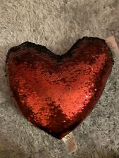 Love Heart Sequin Black Red Cushion Pillow