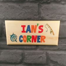 Personalised Fishing Corner Sign Fish Shed Garden Grandad Dad Pond Fathers Day