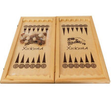 "20"" Classic Backgammon Set Brown Wooden Portable Travel Folding Case"