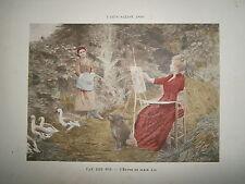 Gravure 19° 1899 couleur Peinture Van den Bos: l'étude en plein air oie chevalet
