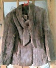 """Vintage Brown Real Coney Fur Jacket Size: 12 - 38"""" Chest"""