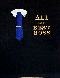 The BEST BOSS Personalised Embroidered towels Gift Christms Birthday present