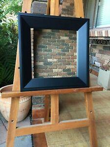 Small Wall Mirror Modern Black Wood Frame 39cm x 39cm
