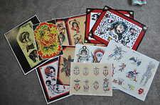 Americana Navy Naked Lady Tattoo Indian Flash Wall Art LOT 10 Sheets Jon boy