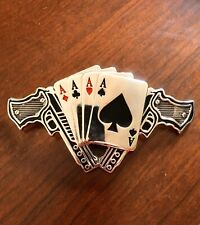 Pistol Handgun Casino Cards With Bottle Opener Metal Unisex Men's Belt Buckle